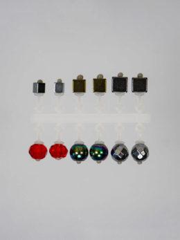 Набор МИКРО-БИС Куб 2,8 мм. Золото, Куб 4 мм. Серебро, Куб 2,2 мм Серебро,  Кристалл 3,8 мм. Серебро, Кристалл 4,2 мм. Красный прозрачный, Шар 4 мм. Бензин, по 2 шт.