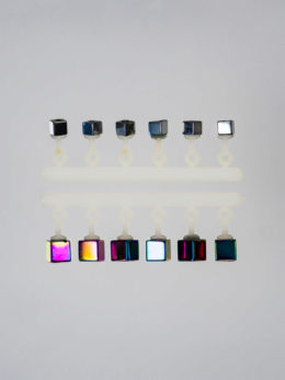 "Набор ""Микро-Бис"" Куб 2,2 мм. Серебро, 2,8 мм. Бензин Длинный подвес"