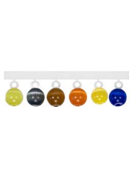 """Набор """"Микро-Бис"""" Кошачий глаз 4 мм. Синий, Жёлтый, Оранжевый, Коньяк, Чёрный,  Зелёный"""
