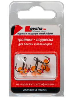 Тройник-подвеска с бусинами Кристалл оранжевый № 12