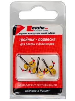 Тройник-подвеска с бусинами Кристалл жёлтый № 10