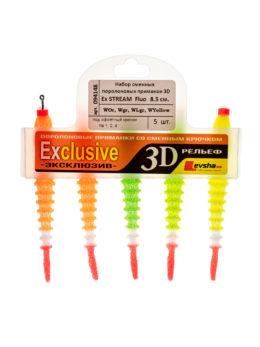 """Набор сменных поролоновых приманок """"3D Ex Stream"""" 8,5 Fluo WOr, WOr, WGr, WLgr, WY"""
