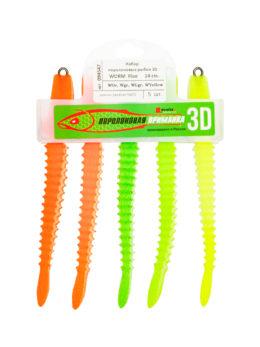 """Набор поролоновых рыбок """"3D Worm"""" 14см Fluo WOr, WOr, WGr, WLgr, WYellow"""