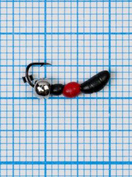 Мормышка Лесной Муравей (Formica RUFA) 0,45/16, чёрно-красный, латунный шар серебро