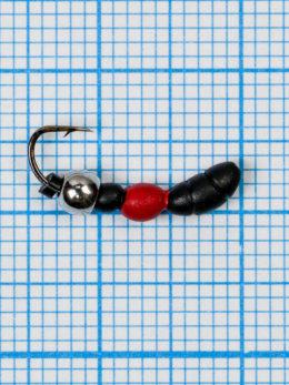 Мормышка Лесной Муравей (Formica RUFA) 0,6/14, чёрно-красный, латунный шар серебро