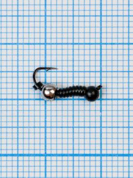 Мормышка Личинка комара (Mosquito) 0,4/14, чёрный, латунный шар серебро