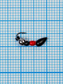Мормышка Муравей-жнец (Messor) 0,4/2, чёрно-красный, латунный шар серебро