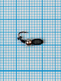 Мормышка Личинка Куб (Larva Cube) 0,35/2, чёрный, латунный шар серебро