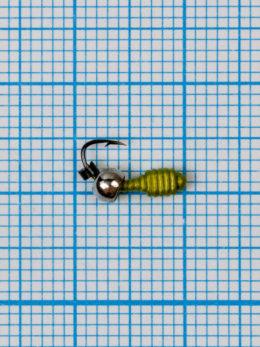 Мормышка Личинка Куб (Larva Cube) 0,35/2, жёлтый Fluo, латунный шар серебро
