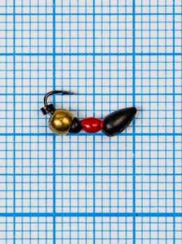 Мормышка Муравей-жнец (Messor) 0,4/2, чёрно-красный, латунный шар золото