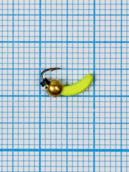 Мормышка Банан Квадратный (Banana Quattro) 0,35/2, жёлтый Fluo +, латунный шар золото