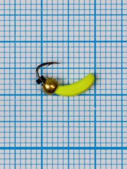 Мормышка Банан Квадратный (Banana Quattro) 0,45/4, жёлтый Fluo +, латунный шар золото