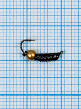 """Мормышка вольфрамовая """"CADDIS"""" № 1 0,39/14, черный Fluo, латунный шар золото"""
