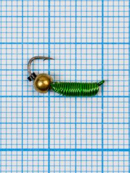 """Мормышка вольфрамовая """"CADDIS"""" № 2 0,62/12, зеленый Fluo, латунный шар золото"""